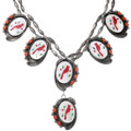 Coral Shell Inlay Sterling Silver Zuni Necklace