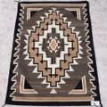 Vintage Navajo Two Grey Hills Wool Rug 40487