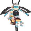 Old Pawn Zuni Inlaid Turquoise Kachina Bolo Tie 40417