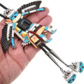 Colorful Gemstone Inlay Eagle Kachina Zuni Bolo Tie 40417