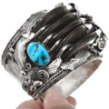 Five Bear Claw Sterling Silver Turquoise Navajo Bracelet 40503
