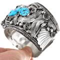 Vintage Sleeping Beauty Turquoise Sterling Silver Bear Claw Bracelet 40503