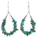 Green Turquoise Beaded Earrings Sterling Accents 40512