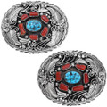 Turquoise Coral Sterling Silver Western Belt Buckle 40516