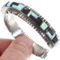 Opal Inlay Sterling Silver Cuff Bracelet 40556