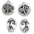 Vintage Hopi Overlaid Silver Clip On Earrings 40560