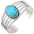 Native American Turquoise Silver Cuff Bracelet 40594
