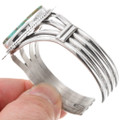 Solid Sterling Silver Turquoise Navajo Cuff Bracelet 40595