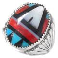 Native American Inlay Mens Silver Ring 40609