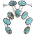 High Grade Spiderweb Turquoise Squash Blossom Necklace 23321