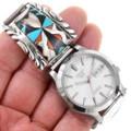 Gemstone Inlay Turquoise Shell Zuni Watch 40624