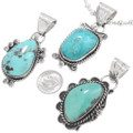 Blue-Green Turquoise Pendant Native American Jewelry 40650
