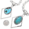 Turquoise Sterling Silver Native American Pendant on Bead Necklace 40656
