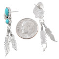 Navajo Turquoise Silver Feather Earrings 40659