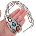 Native American Sterling Silver Bench Bead Necklace Pendant 40665