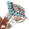 Indian Chief Headdress Turquoise Inlay Ring 40689