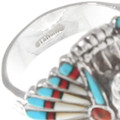Sterling Silver Native American Chief Mens Ring 40689