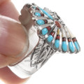 Sterling Silver Turquoise Coral Chief Ring 40690