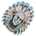 Turquoise Indian Chief Ladies Ring 40690