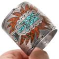 Turquoise Coral Chip Inlay Peyote Bird Symbol Bracelet 40735