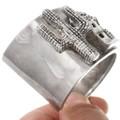 High Relief Pueblo Adobe Design All Silver Bracelet 40743