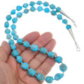Navajo Made Turquoise Bead Necklace Sterling Silver Accents 40794