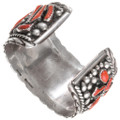 Authentic Navajo Eric and Carol Fierro Coral Silver Watch 40803
