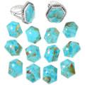 High Grade Turquoise Gemstones Hexagon Cut Navajo Rings 40824