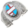 Vintage Navajo Turquoise Shell Sterling Silver Bracelet 40834