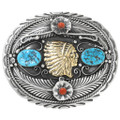 Navajo Turquoise Coral Silver Gold Belt Buckle 40903