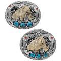 Blue Turquoise Sterling Silver Gold Bear Belt Buckle 17585