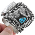 Natural Turquoise Wolf Design Old Pawn Watch Bracelet 40161