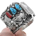 Turquoise Coral Sterling Silver Navajo Watch  40161