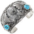 Vintage Sleeping Beauty Turquoise Silver Bear Bracelet 40859