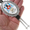 Sterling Silver Navajo Kachina Inlay Bolo Tie Sterling Bolo Tips 23775