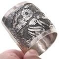Navajo Life Storyteller Overlay Silver Cuff Bracelet 40801