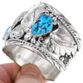 Natural Sleeping Beauty Turquoise Navajo Cuff Bracelet 40894