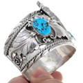Native American Silver Wolf Design Turquoise Bracelet 40894