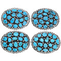 Sterling Silver Natural Arizona Turquoise Belt Buckle 40998
