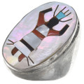 Vintage Inlaid Turquoise Shell Silver Mens Ring 41007
