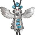 Old Pawn Navajo Turquoise Kachina Bolo Tie 41009