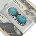Two Stone Turquoise Silver Money Clip 41025