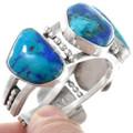 Solid Sterling Silver Cuff Bracelet Azurite Gemstones 41043