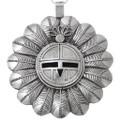 Large Navajo Sterling Silver Sunface Kachina Pendant 41051