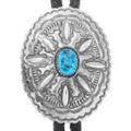 Natural Turquoise Sterling Silver Navajo Bolo Tie 41063