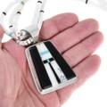 Large Gemstone Inlay Pendant Heishi Necklace 41098
