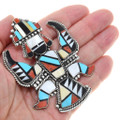Turquoise Multistone Inlay Knifewing Design Sterling Silver Pendant 41158