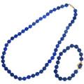 Vintage Lapis Lazuli Bead Necklace Bracelet Set 41349