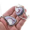 Sterling Silver Natural Purple Banded Agate Jewelry Set