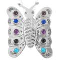 Vintage Navajo Gemstone Butterfly Pendant 41366
